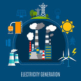 Electricity Generation Flat Composition. Electricity generation composition with fuel power plant, electrical pylons, solar panels on blue background flat vector stock illustration