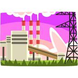 Electricity generation plant, fossil fuel power station horizontal vector illustration. On a white background Vector Illustration
