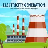 Electricity generation poster with power station. Electricity generation poster with coal or nuclear thermal power station. Industrial plant building with stock illustration