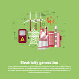 Electricity Generation Station Industry Web Banner. Flat Vector illustration royalty free illustration
