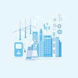 Electricity Generation Station Industry Web Banner. Vector illustration royalty free illustration
