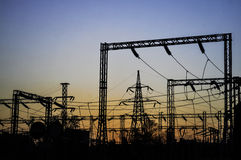 Electricity grid at power station Royalty Free Stock Photo