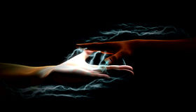 Electricity between hands Royalty Free Stock Photos