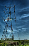 Electricity. HDR of electricity cables tower in the field Royalty Free Stock Photography