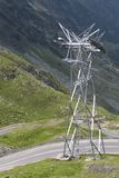 Electricity on a high mountain road Royalty Free Stock Photo