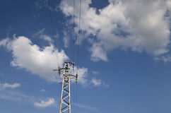 Electricity high voltage pole Royalty Free Stock Images