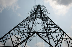 Electricity high voltage pole and sky Stock Image