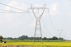 Electricity high voltage power post Royalty Free Stock Photo