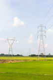 Electricity high voltage power post Stock Photo