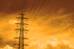 Electricity high voltage power pylon Stock Photo