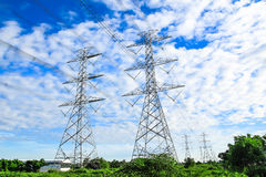 Electricity high voltage power pylon Royalty Free Stock Photos