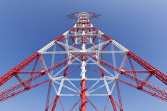 Electricity high voltage pylon perspective view Stock Photos