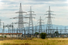 Electricity high voltage substation Royalty Free Stock Images