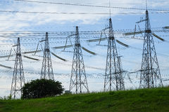 Electricity high voltage towers royalty free stock photography