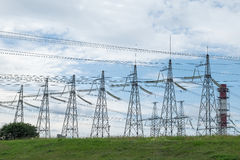 Electricity high voltage towers royalty free stock images