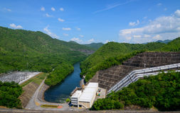 Electricity from hydropower plants, dams Srinakarin. Stock Photo