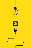Electricity icon flat. In black color on yellow background Royalty Free Stock Photo