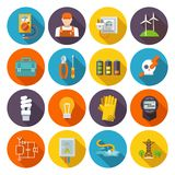 Electricity Icon Flat. Set with electric energy power equipment test toolbox isolated vector illustration Royalty Free Stock Photo