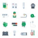 Electricity Icon Flat Set Royalty Free Stock Image