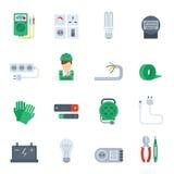 Electricity Icon Flat Set Royalty Free Stock Image