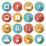 Electricity icon flat. Set with electronic equipment isolated vector illustration Royalty Free Stock Image
