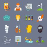 Electricity Icon Flat. Set with multimeter electrician socket pylon isolated vector illustration Royalty Free Stock Photography