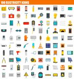 100 electricity icon set, flat style. 100 electricity icon set. Flat set of 100 electricity icons for web design vector illustration