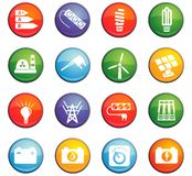 Electricity icon set Stock Photos