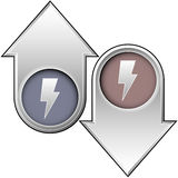 Electricity icon on up and down arrows. Up and down arrow buttons with lightning bolt or electricity icon to indicate need, supply, price, wattage, or efficiency Stock Photos