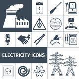 Electricity Icons Black Set Royalty Free Stock Photography