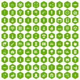 100 electricity icons hexagon green. 100 electricity icons set in green hexagon isolated vector illustration Royalty Free Stock Photography
