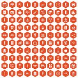 100 electricity icons hexagon orange Stock Image
