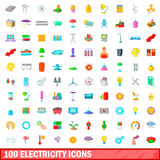 100 electricity icons set, cartoon style Stock Photo