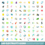 100 electricity icons set, cartoon style Stock Image