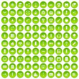 100 electricity icons set green circle. Isolated on white background vector illustration Stock Images