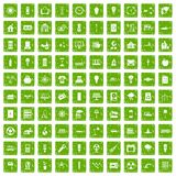100 electricity icons set grunge green. 100 electricity icons set in grunge style green color isolated on white background vector illustration Royalty Free Stock Photography