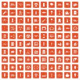 100 electricity icons set grunge orange. 100 electricity icons set in grunge style orange color isolated on white background vector illustration Stock Images