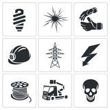 Electricity Icons set Royalty Free Stock Photography