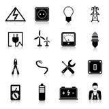 Electricity Icons Set Stock Photos