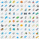 100 electricity icons set, isometric 3d style. 100 electricity icons set in isometric 3d style for any design vector illustration Stock Images