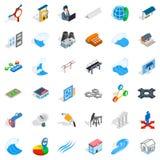 Electricity icons set, isometric style Stock Image