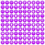 100 electricity icons set purple. 100 electricity icons set in purple circle isolated on white vector illustration stock illustration