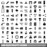 100 electricity icons set, simple style Royalty Free Stock Photo