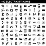 100 electricity icons set, simple style. 100 electricity icons set in simple style for any design vector illustration Stock Photo
