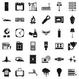 Electricity icons set, simple style. Electricity icons set. Simple style of 36 electricity vector icons for web isolated on white background Stock Photo