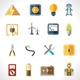 Electricity Icons Set Stock Photos
