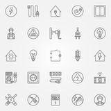 Electricity icons set. Electricity icons - vector set of home electricity symbols in thin line style Royalty Free Stock Images