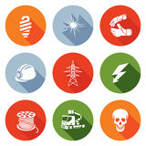 Electricity Icons Set. Vector Illustration. Stock Images