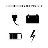 Electricity icons set. Vector illustration Royalty Free Stock Images
