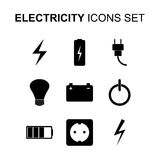 Electricity icons set. Vector illustration Stock Photos